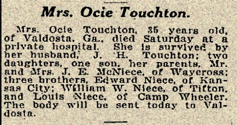 Obituary of Ocie Touchton, Atlanta Constitution, April 28, 1918