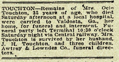 Funeral Notice for Mrs. Ocie Touchton, Atlanta Constitution, April 28, 1918.