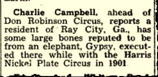 The Billboard, December 6, 1952 clipping reported bones of Gypsy the elephant at Ray City, GA