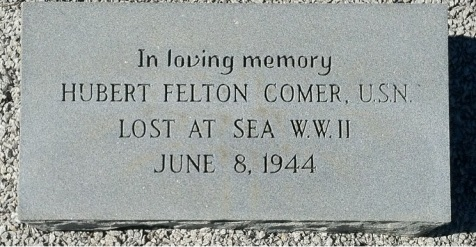 Memorial marker for Hubert Felton Comer, Pleasant Cemetery, Berrien County, GA