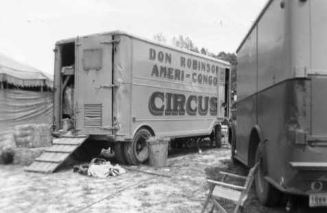 Don Robinson Circus at an unknown location, circa 1952.