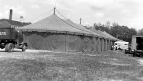 Circus tent of the Don Robinson Circus, circa 1952, at an unknown location.