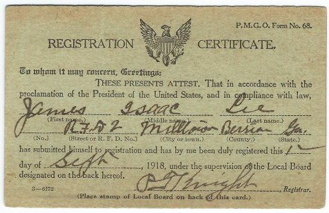 1918 Registration Certificate of James Isaac Lee. Image courtesy of Edith Mayo.