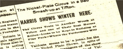 News article reported the 1902 wreck of the Harris shows circus train at Tifton, GA.