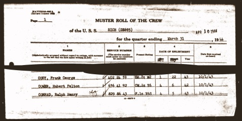 Hubert Felton Comer listed on the muster roll of the USS Rich (DE 695) during WWII.