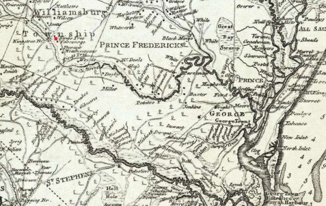 Detail of Sam Cook's 1773  map of South Carolina showing the location of Kingstree.