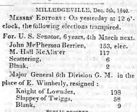 Election of Major General Levi J. Knight, Columbus Enquirer, Dec. 9, 1840.