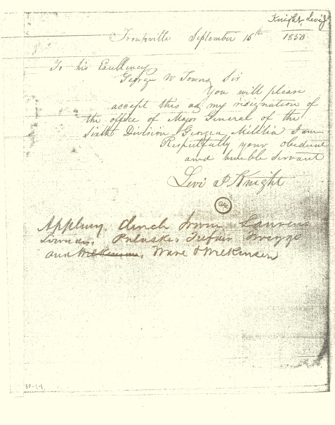 1850 Resignation of Major General Levi J. Knight