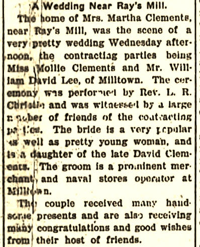 1905 Wedding announcement of Mollie Bell Clements, of Ray City, and William David Lee, of Milltown.