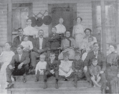 Chloe Ann Gardner Johnson with her children, parents and siblings, circa 1909.