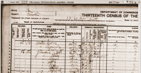 1910 census enumeration of J.H.P. Johnson and Chloe Johnson, Dupont Town, Clinch County, GA.