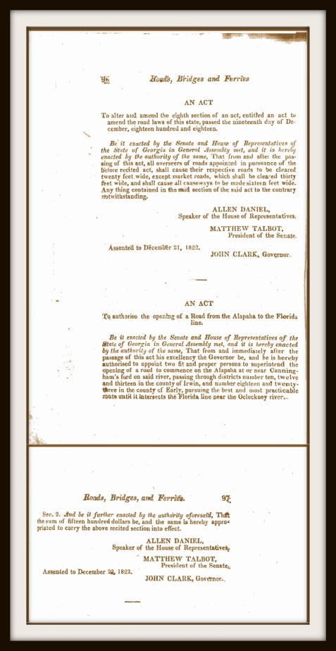 1822 Act authorizing construction of the Coffee Road