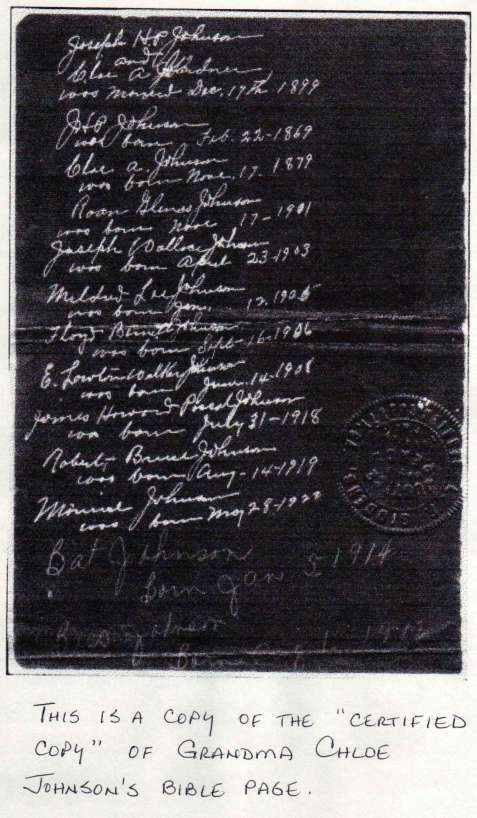 Chloe Johnson's Family Bible page showing birth dates. Image courtesy of Julie Hutson.