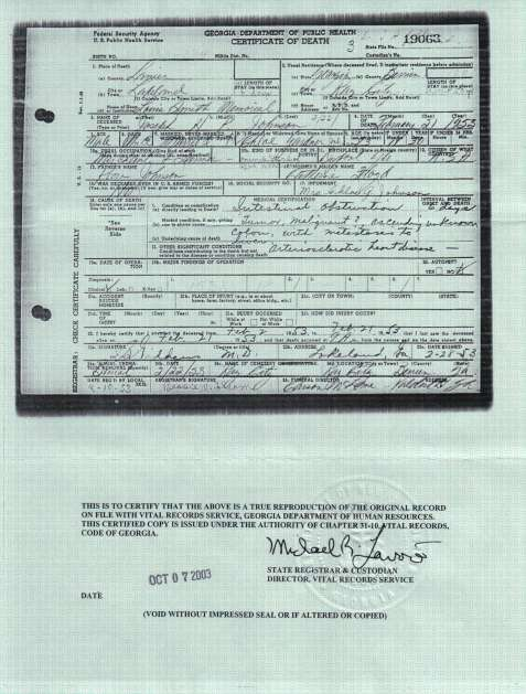 Death Certificate of Joseph Henry Pascal Johnson. Courtesy of Julie Hutson.