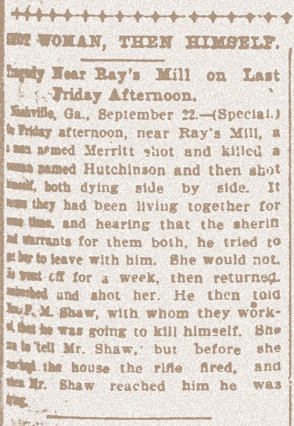 1900 Murder/suicide in Berrien County, GA