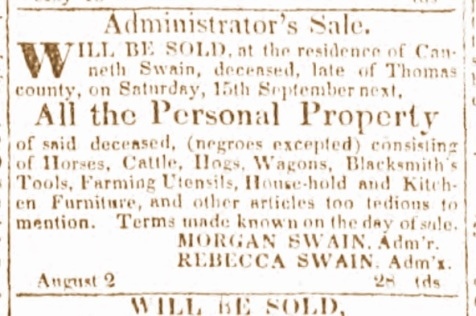 Announcement of the estate sale of the personal property of Canneth Swain, Aug 2, 1932.
