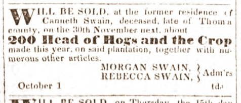 Nov 1,1832 sale of Canneth Swain estate, Millegdeville Southern Recorder