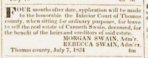 Announcement for the sale of Canneth Swain's real property, July 7, 1834.