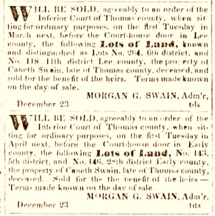 Announcement for the sale of Canneth Swain's land in Early and Lee counties, January 6, 1835.