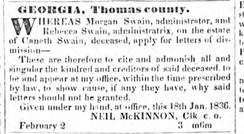 June 7, 1836, advertisement for dismissal from administration of the estate of Canneth Swain.