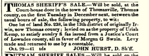 November 5, 1839 Morgan G. Swain collects on a debt in Thomas county.
