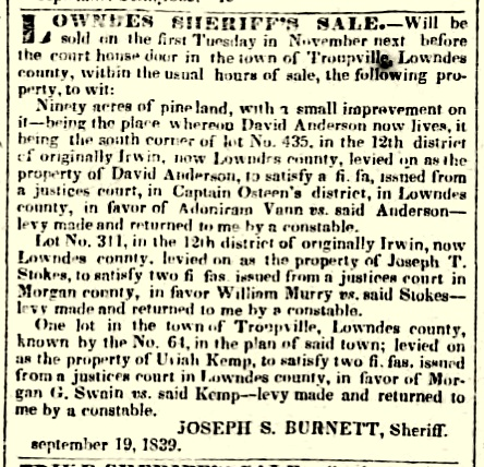 Morgan G. Swain levied on theTroupville, GA property of Uriah Kemp to collect on a debt.