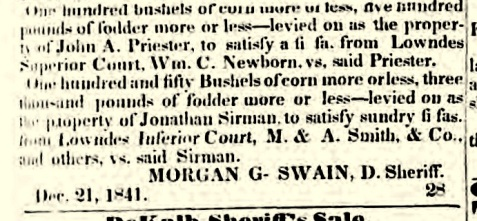 One interesting case concerned a levy on 100 bushels of corn made by William C. Newbern against John A. Priester.