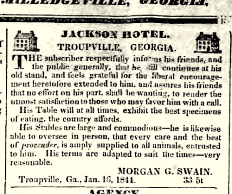Jackson Hotel, Troupville, GA was operated by Morgan G. Swain.