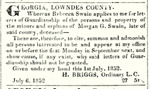 """Rebecca Swain applied for guardianship of """"the minors and orphans of Morgan G. Swain."""""""