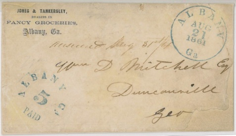 1861 letter envelope addressed to W. D. Mitchell, Duncanville, GA