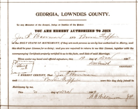 Marriage Certificate of Joseph S. Bazemore and Bessie Griffin, December 20, 1899, Lowndes County, GA.