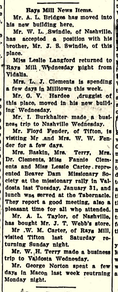 Ray City News appeared in The Valdosta Times, Feb 4, 1911.