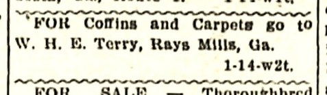 Jan 14, 1911 ad for W. H. E. Terry's store appeared in The Valdosta Times