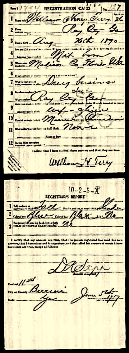 1918 Draft registration of W. H. E. Terry.