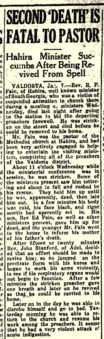 Second death was fatal to Reverend R. P. Fain, Americus Times-Recorder, Jan 13, 1921