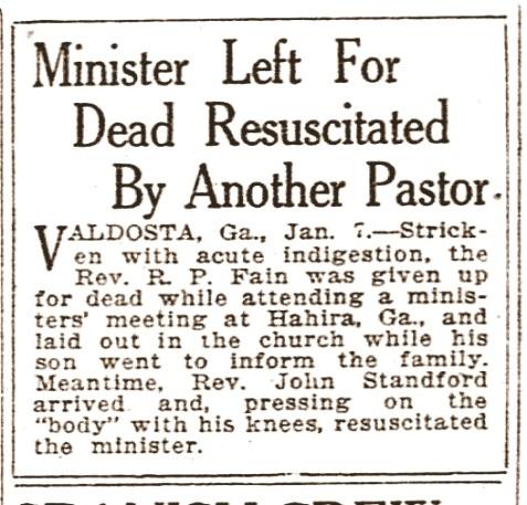 Strange death of Reverend R. P. Fain