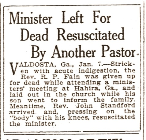 Strange death of Reverend R. P. Fain