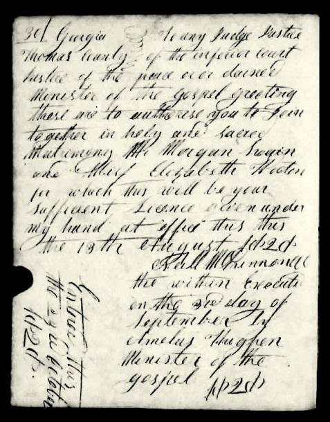 1828 Marriage license of Morgan Swain and Elizabeth Wooten, Thomas County, GA