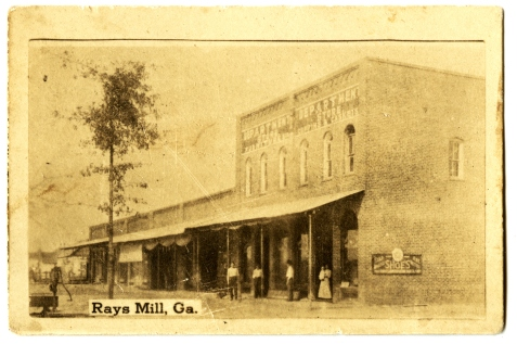 Early photo of Rays Mill (Ray City), GA. Note storefront signage for caskets and coffins. Was this the building constructed by W. H. E. Terry?