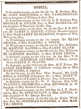 Wedding announcement for Morgan G. Swain and Rebecca Griffin appeared in The Macon Telegraph, Feb 20, 1844.