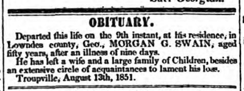 Obituary of Morgan G. Swain.