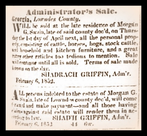 Administrator's Sale: estate of Morgan G. Swain