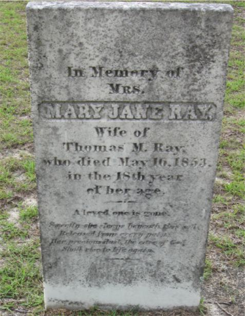 Gravemarker of Mary Jane Albritton Ray, Union Church Cemetery, Lanier County, GA.