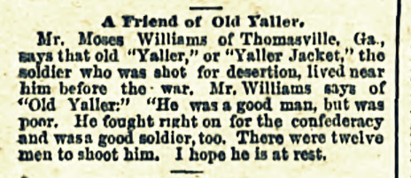 1887 clipping about a friend of Old Yaller.