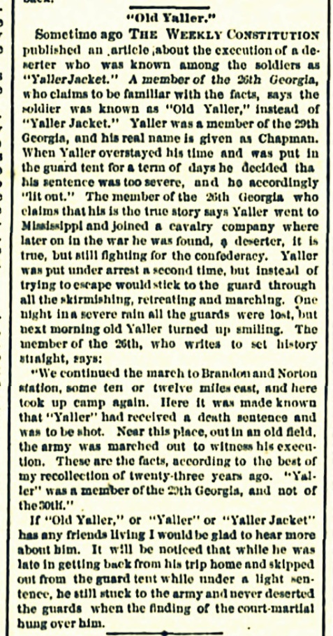 "1887 recollection of ""Old Yaller,"" Elbert J. Chapman."