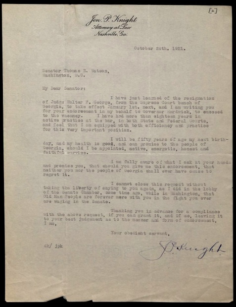 Letter from Jon P. Knight to Thomas E. Watson, 26 October 1921. The Thomas E. Watson Papers #755, Southern Historical Collection, Wilson Library, University of North Carolina at Chapel Hill.