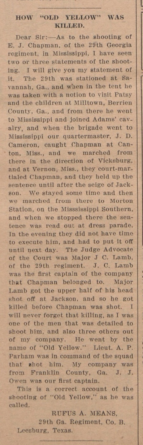 Account of the death of Elbert J. Chapman published in The Jeffersonian, Volume 6, Issue 9, 12 August 1909 (Page 3), from the Thomas E. Watson Papers #755, Southern Historical Collection, The Wilson Library, University of North Carolina at Chapel Hill.