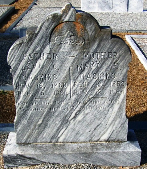 Grave of Levi J. Gaskins and Mary E. Strickland, New Ramah Cemetery, Ray City, GA
