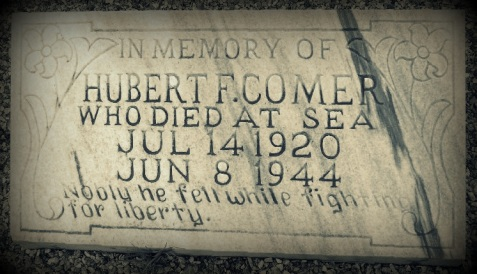 "Memorial marker, New Ramah Cemetery. In Memory of Hubert F. Comer who died at sea, Jul 14 1920 - Jun 8 1944. ""Nobly he fell while fighting for liberty."""