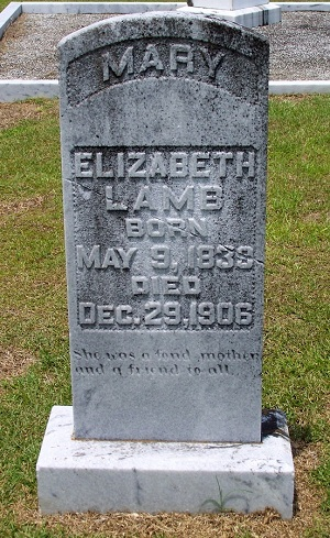 Grave marker of Mary Elizabeth Lamb, Beaver Dam Cemetery, Ray City, GA